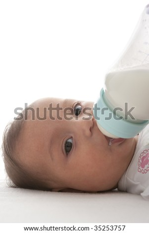 Baby gets bottle-feeding