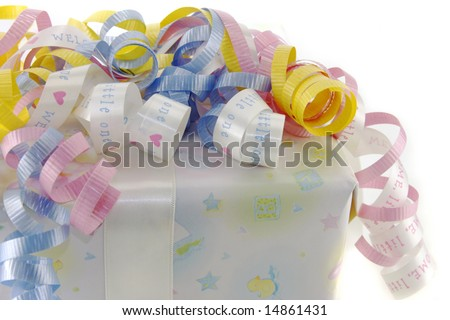 Baby gifted wrapped box against a white background. - stock photo