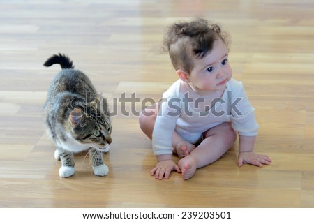 Baby (girl age 06 months)  sits with animal (domestic cat) at home. Concept photo animals and children. - stock photo