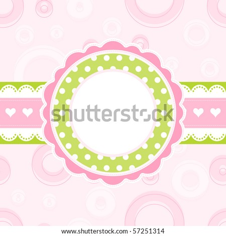 Baby girl arrival announcement card - stock photo
