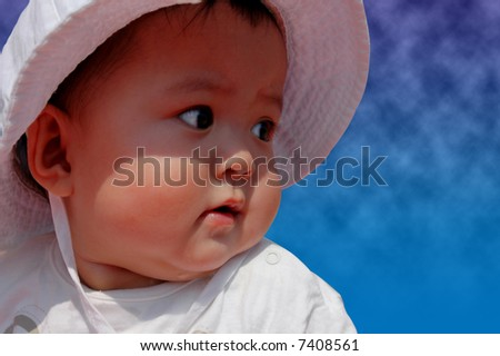 baby girl at the beach - stock photo