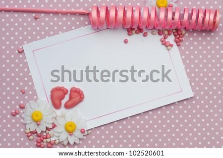 baby girl birth card design background - stock photo