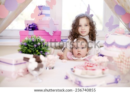 baby girl celebrating first birthday - stock photo