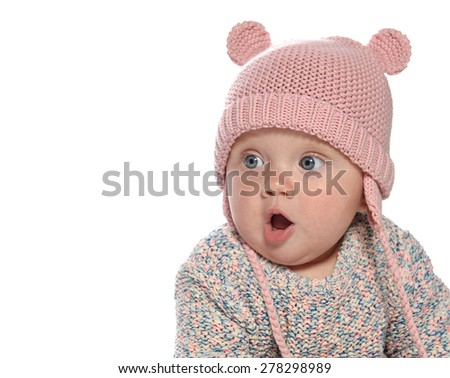 baby girl child  pink fashion portrait face studio shot isolated on white caucasian  hat warm clothing - stock photo