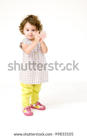 Baby Girl Clapping - stock photo