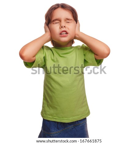baby girl closed her eyes her ears loud noise fear isolated on white background - stock photo
