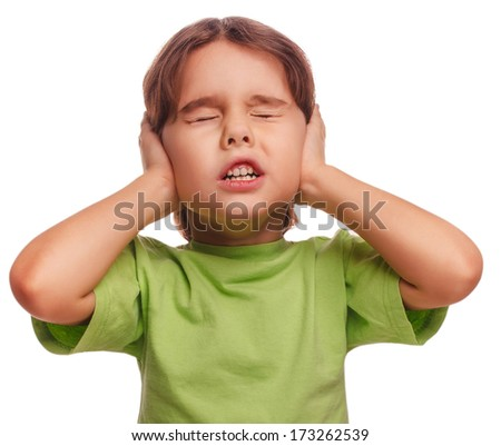 baby girl closed her eyes her ears loud noise fear isolated on white background large - stock photo