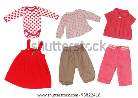 baby girl colorful clothes isolated on white background - stock photo