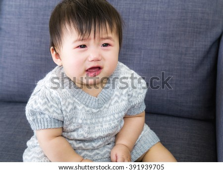 Baby girl crying - stock photo