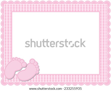 Baby GIRL Gingham Frame-Gingham patterned frame with scalloped border designed in Baby themed colors with cute baby feet accents - stock photo