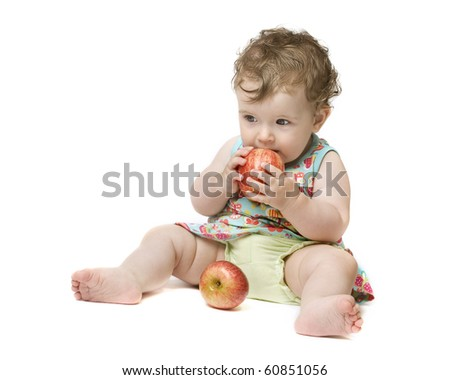 Baby girl holding big red apple. Isolated on white - stock photo