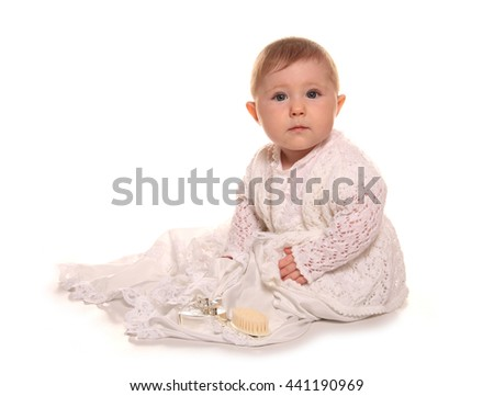 baby girl in a christening gown cutout - stock photo