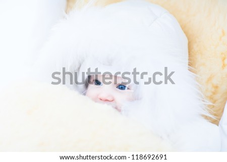 Baby girl in a white fur jacket sitting in a stroller with a warm sheepskin foot muff - stock photo