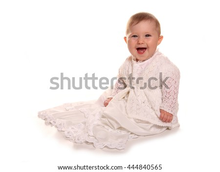 Baby girl in christening gown cutout - stock photo