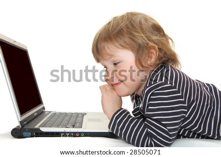 Baby girl in Diaper Typing on Computer - stock photo