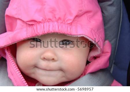 Baby Girl in Hood - stock photo