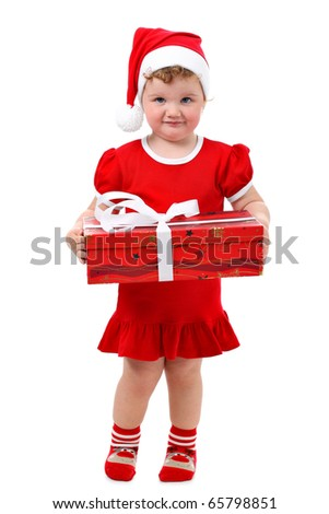 Baby girl in Santa's hat holding her Christmas present isolated on white