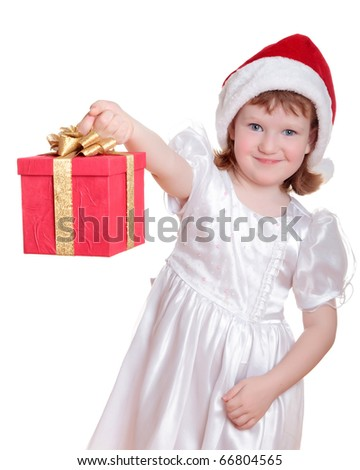 Baby girl in Santa's hat holding her Christmas present isolated on white - stock photo