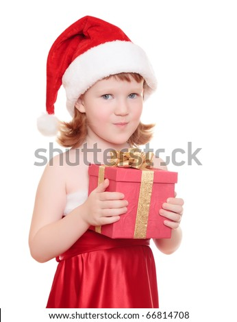 Baby girl in Santa's hat holding her Christmas present, isolated on white - stock photo