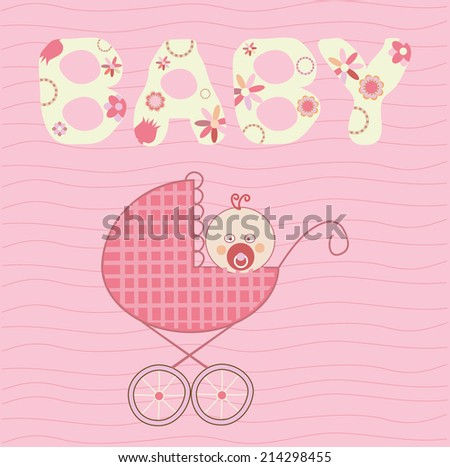 Baby girl in the buggy - stock photo