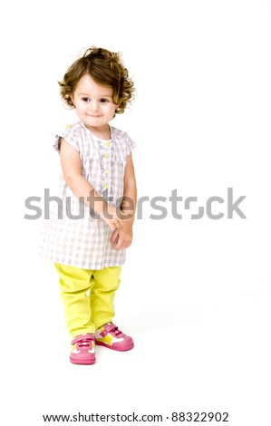 Baby Girl Isolated on a White background. - stock photo
