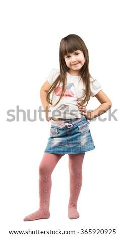 Baby girl isolated on white background - stock photo
