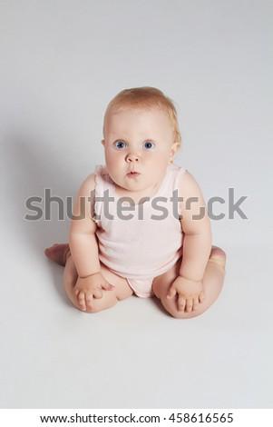baby girl. little funny child.newborn - stock photo