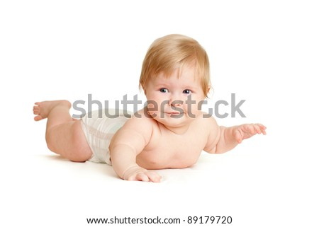 baby girl lying face-down position - stock photo
