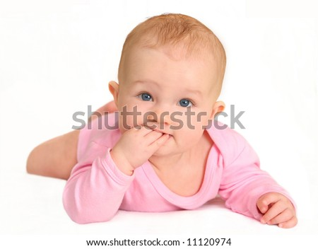 baby (girl 5 month) - stock photo