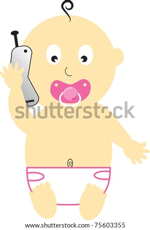 Baby Girl on Cell Phone - stock photo