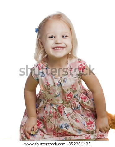 baby girl on white isolated - stock photo