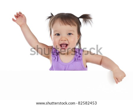 Baby girl one year old above white banner - stock photo