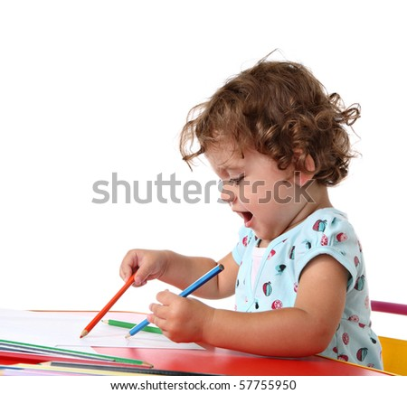 Baby girl painting - stock photo