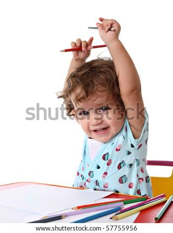 Baby girl painting - stock photo