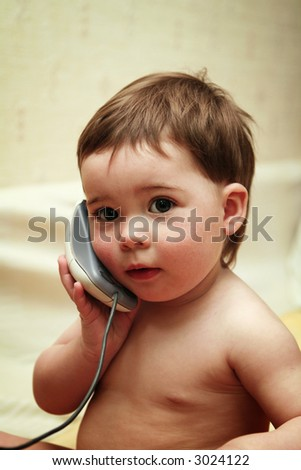 Baby girl playing - stock photo