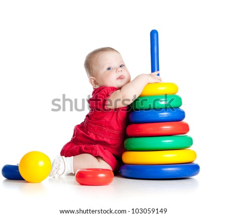baby girl playing with big toy isolated on white background - stock photo