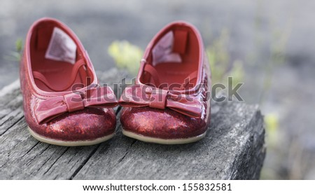 Baby Girl Ruby Slippers - stock photo