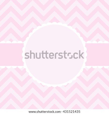 Baby girl shower card and frame for your text - stock photo