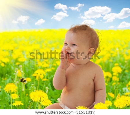 Baby-girl sitting among dandelion collage (the same model isolated you can find in my portfolio)