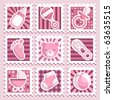 Baby girl stamps - stock photo