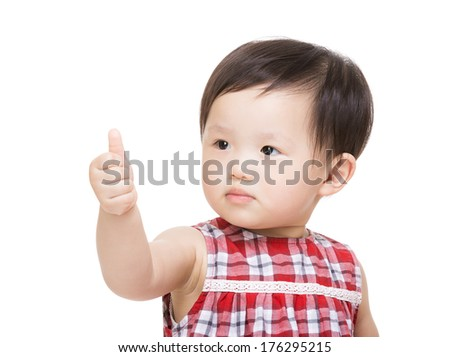 Baby girl thumb up - stock photo