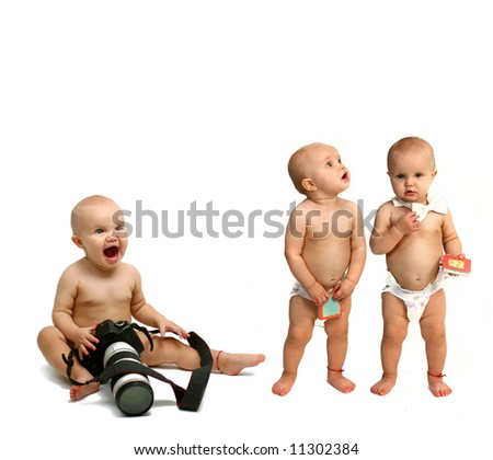 baby girl - twins - stock photo