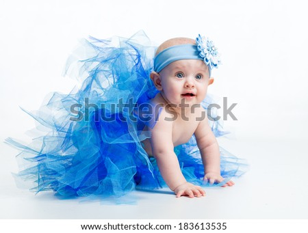 baby girl weared tutu skirt, isolated on white - stock photo