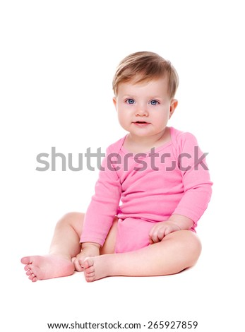baby girl wearing pink bodysuit - stock photo