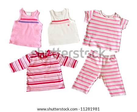 baby girl white and pink T-shirts and pants isolated on white background - stock photo