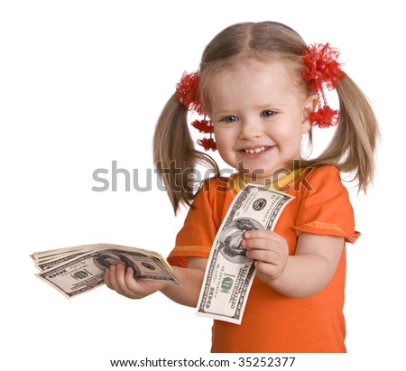 Baby girl with money dollar banknote. Isolated. - stock photo