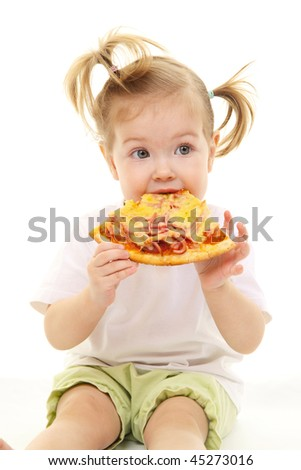 Baby girl with pizza - stock photo