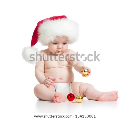 baby girl with Santa Claus hat isolated on white - stock photo