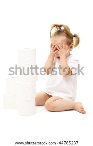 Baby girl with toilet paper isolated on white