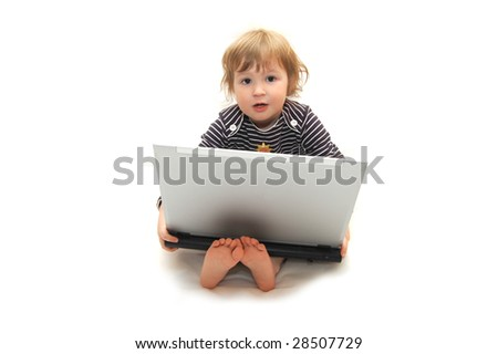 baby girl working on laptop isolated white - stock photo